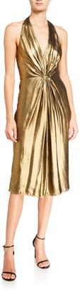 Halston Foiled Georgette Ruched Halter Dress
