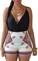 Ninimour Women's Sleeveless Paisley Print Boho Beach Shorts Rompers Jumpsuit