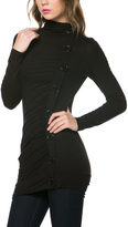 Celeste Black Button Mock Neck Top