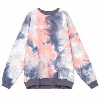 Hosd loose early women's thin and autumn sweater mid-length Tie-dye top long-sleeved Blue