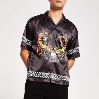 River Island Jaded London black dragon print short shirt