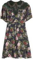 Anna Sui Printed Silk Dress with Velvet