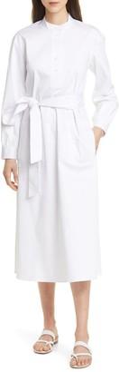 Club Monaco Half Placket Long Sleeve Midi Dress