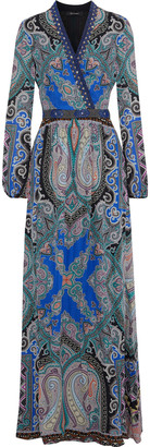 Etro Wrap-effect Embellished Silk Crepe De Chine Maxi Dress
