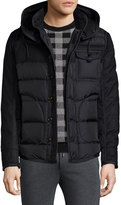 Moncler Ryan Nylon & Wool Hooded Puffer Jacket, Black