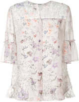 Elie Tahari floral back pleat detail blouse - women - Silk - XS