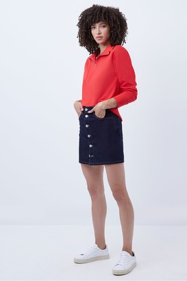 French Connection Reo Denim Button Front Mini Skirt