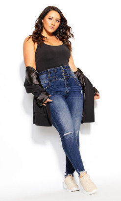 City Chic Harley Rip Vibes Corset Jean - mid denim