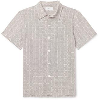 Mr P. Camp-Collar Printed Cotton-Seersucker Shirt