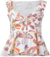 Peter Pilotto floral peplum blouse - women - Cotton/Spandex/Elastane - 6