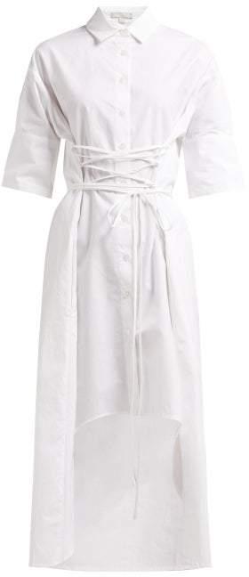 story. White Elizabeth X Twill Corset Style Cotton Shirtdress - Womens - White