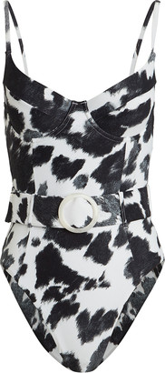 WeWoreWhat Danielle Cow-Printed One-Piece Swimsuit