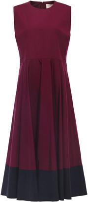 Roksanda Fluted Two-tone Cotton-poplin Midi Dress