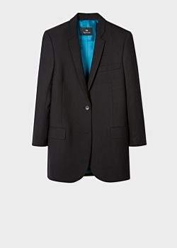 Women's Boyfriend-Fit Black Wool-Hopsack Blazer With 'UFO' Lining