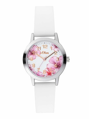 S'Oliver Girl's Analogue Quartz Watch with Silicone Strap SO-4076-PQ