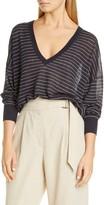 Brunello Cucinelli Stripe Sheer Linen Blend Sweater