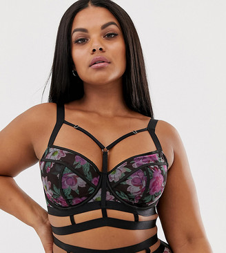 Playful Promises Gabi Fresh X floral cut out longline bra in black