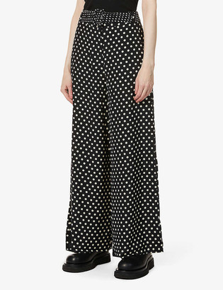 Whistles Limited Edition spotted silk palazzo trousers