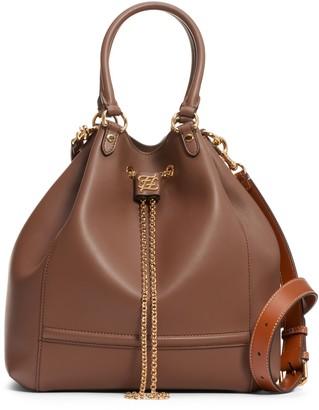 Fendi Grace Chain Drawstring Leather Bucket Bag