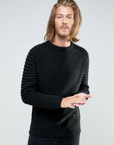 Religion Jumper With Ribbed Arm Detail