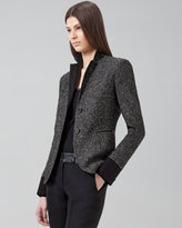 Faux-Leather-Trimmed Two-Button Blazer