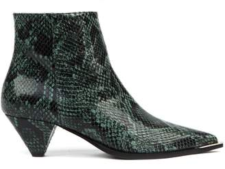 Aldo Castagna Green Python Leather Ankle Boots