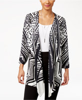 JM Collection Petite Printed Draped Cardigan, Only at Macy's