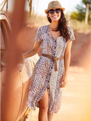 M&Co Animal print button front midi dress