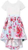 Speechless Glitter-Lace Floral-Print Dress, Little Girls