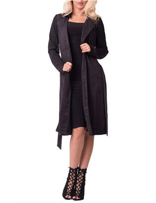 Lux La Long Sleeve Faux Suede Self Tie Trench Coat