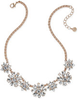 Charter Club Rose Gold-Tone Crystal Cluster Necklace, Only at Macy's
