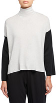 Eileen Fisher Colorblock Merino Wool Turtleneck Sweater