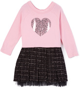 KensieGirl Prism Pink Sequin-Heart A-Line Dress - Girls