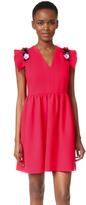MSGM Embellished Sleeve V Neck Dress