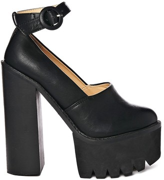Truffle Collection Truffle Beth 2 Ankle Strap Platform Cleated Heeled Shoes