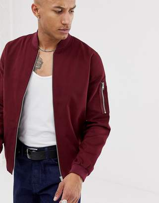 Asos Design DESIGN ma1 bomber jacket in burgundy-Red