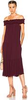 Raquel Allegra Off Shoulder Shirred Dress
