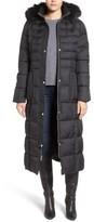 Larry Levine Women's Quilted Maxi Coat With Faux Fur Trim