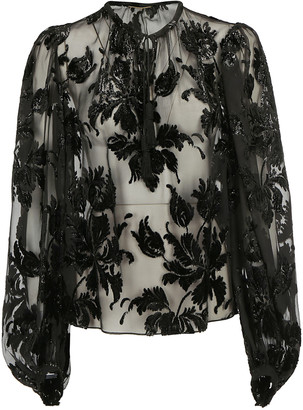 Saint Laurent Sheer Floral Embroidered Blouse