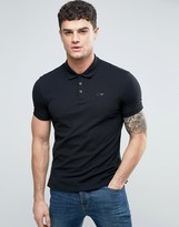 Armani Jeans Pique Logo Polo Regular Fit in Black
