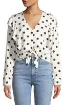 Bardot Tie-Front Long-Sleeve Dot-Print Shirt