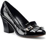 Isola Tara Kiltie Hi-Gloss Patent Leather Kilt Accent Slip-On Block Heel Pumps