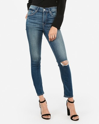 Express High Waisted Ripped Ankle Skinny Jeans