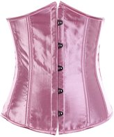 Grebrafan Pure Satin Steel Busk Underbust Lace Up Boned Corset Top (US(6-8)M, )