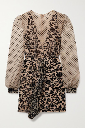 PatBO Ruffled Flocked Tulle Mini Dress - Beige