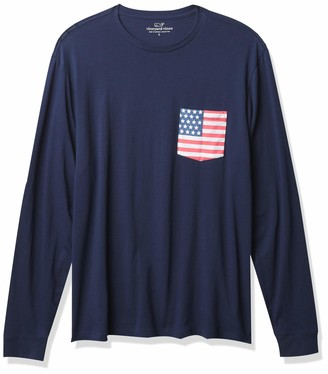 Vineyard Vines Men's American Flag Logo Long Sleeve Pocket T-Shirt