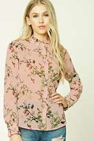 Forever 21 Floral and Bird Mock Neck Shirt