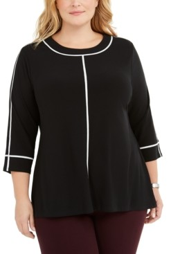 Alfani Plus Size Piped Stretch Top, Created for Macy's