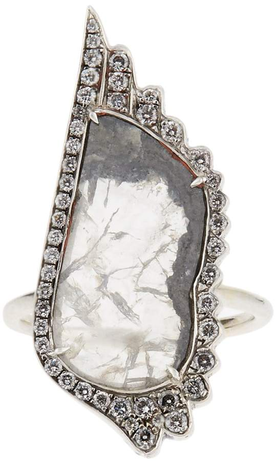 Susan Foster Diamond slice & white-gold ring