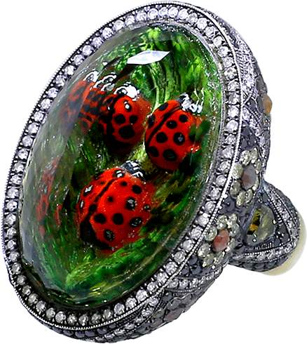 Sevan Biçakci Carved Ladybug Ring